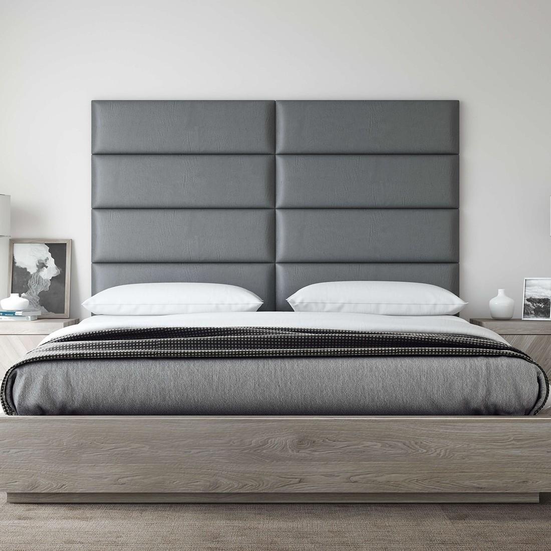 Lit Avec Tete De Lit Matelassé tête de lit capitonnée cuir gris - panneau décoratif vant