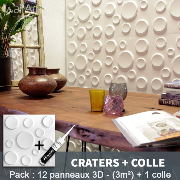 Pack Panneau Mural 3d Craters + colle