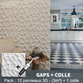 Pack Panneau Mural 3d Gaps + colle
