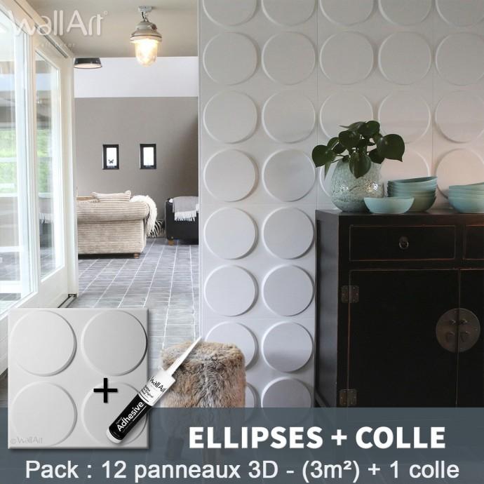 Pack Panneau Mural 3d Ellipses + colle