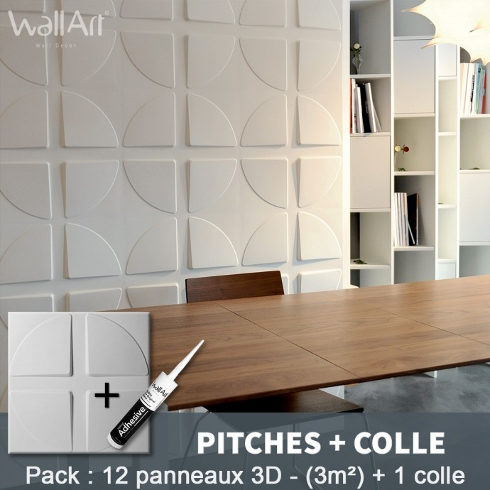 Pack Panneau Mural 3d Pitches + colle