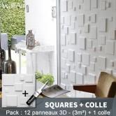 Pack Panneau Mural 3d Squares  + colle