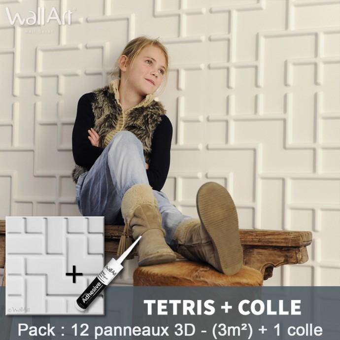 Pack Panneau Mural 3d Tetris + colle
