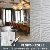 Pack Panneau Mural 3d Flows + colle