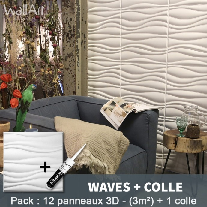 Pack Panneau Mural 3d Waves + colle