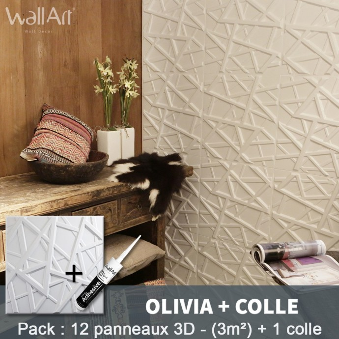 Pack Panneau Mural 3d Olivia + colle