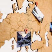 Carte du Monde Deco en Bois Marron