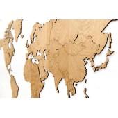 Carte du Monde Deco Murale Bois Chêne