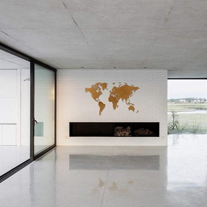 Carte du Monde Murale Marron