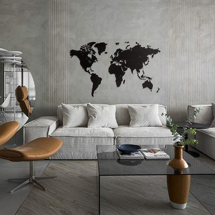 Carte du Monde 3D en Bois Noir