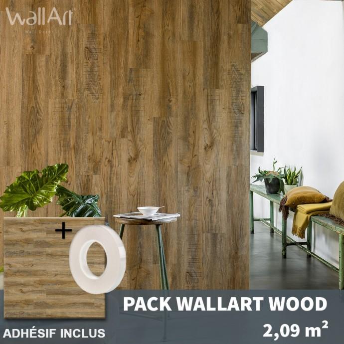 Dalle pvc murale adhésive lambris bois vieilli
