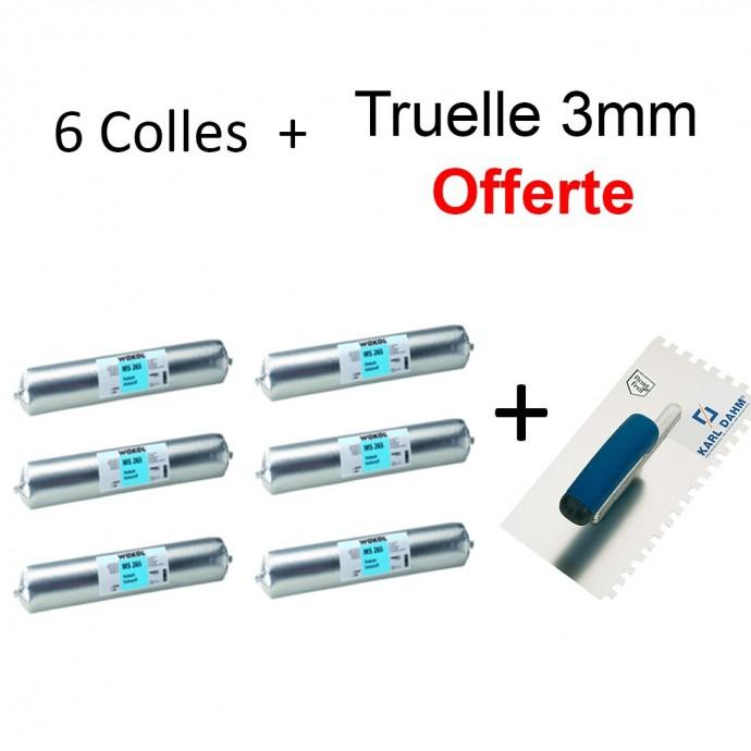 Kit 6 Colles Wakol Parement Bois + Truelle 3mm OFFERTE