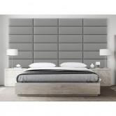 panneau tête de lit cuir gris