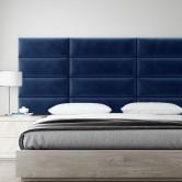 panneau tete de lit bleu