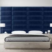 tete de lit rembourre bleu roi