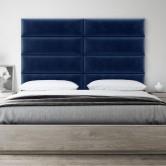Tête de lit velours bleu