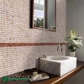Revêtement mural salle de bain - Parement bois Cocomosaic White Patina
