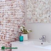 Déco murale salle de bain en noix de coco - Parement bois Cocomosaic White Patina