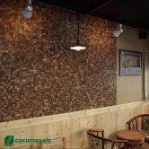 Décoration d'un restaurant - Parement bois Cocomosaic White Patina