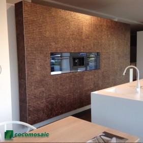 Revêtement mural cuisine - Parement bois Cocomosaic Espresso Bliss