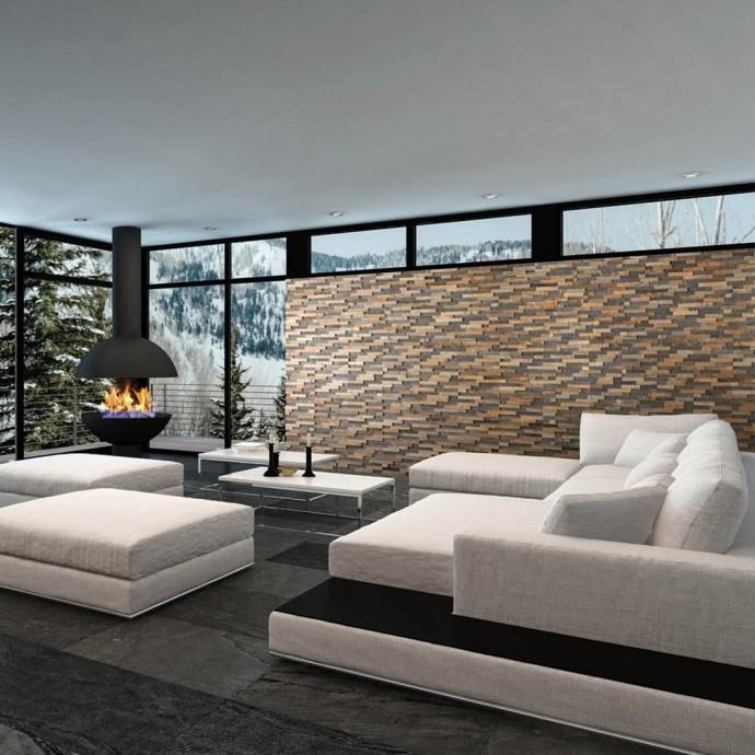 Déco salon moderne - Panneau Mural Bois Bravo