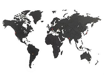 carte du monde noir et blanc