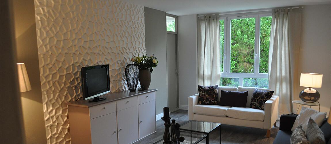 deco mur tv salon avec panneau 3d