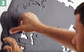 installation map monde murale