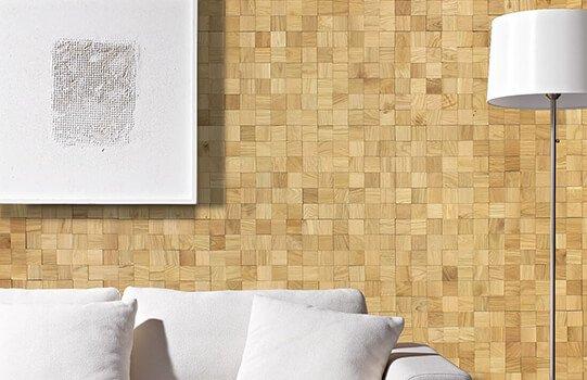 Plaquette de parement bois mosaique